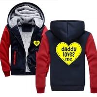 mens sweatshirts jackets daddy loves me heart funny streetwear hooded hoody autumn winter warm thick hoodies for men hoodie