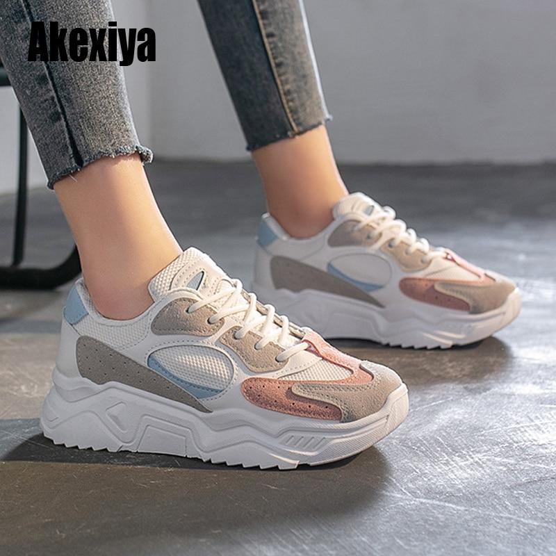 Zapatillas de deporte de primavera para mujer, suela gruesa, zapato para papás, suela gruesa, punta redonda, transpirables, calzado vulcanizado femenino s267