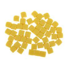 Dés vierges acryliques jaunes de 16MM pour autocollant bricolage, comptage mathématique, fabrication de blocs de construction de Puzzle de chiffres dalphabet, paquet de 50