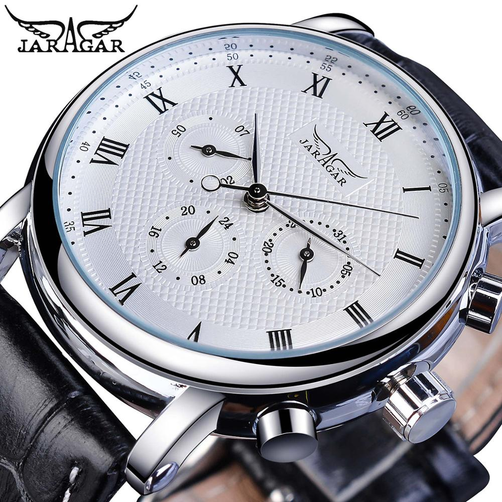 Jaragar Brand White Men Mechanical Watch Minimalism Dial Date Business Sports Male Genuine Leather W