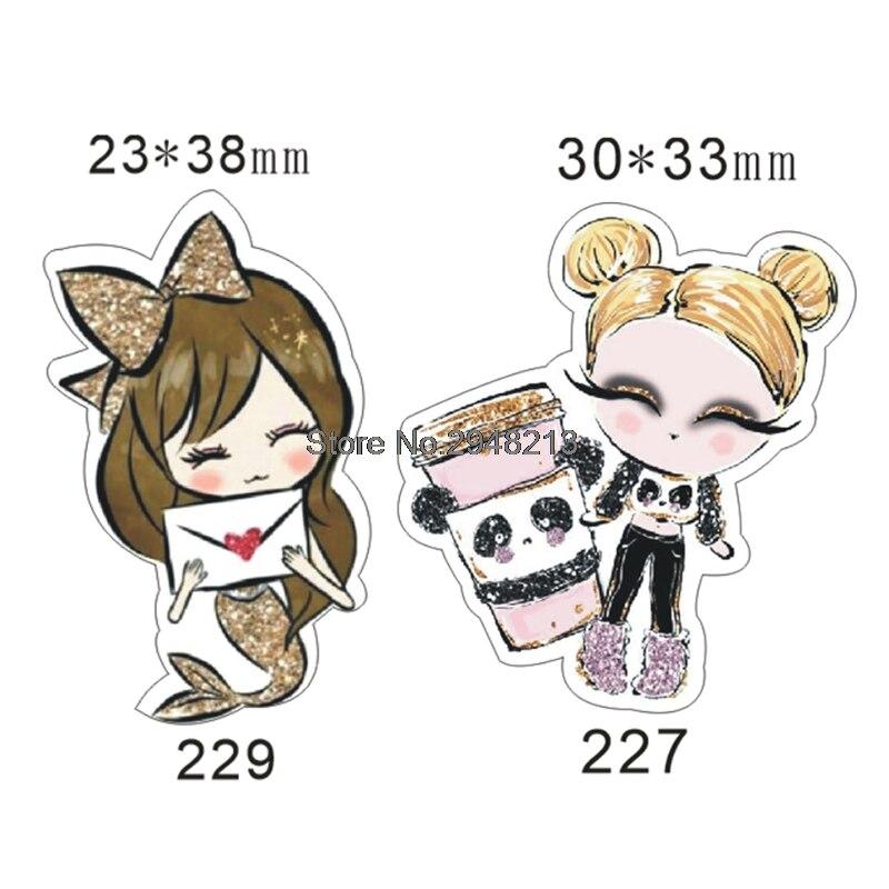 50 Uds. Cabujón plano de resina de personaje de niña pequeña de dibujos animados mezclados para manualidades DIY 1,2 pulgadas RETS227