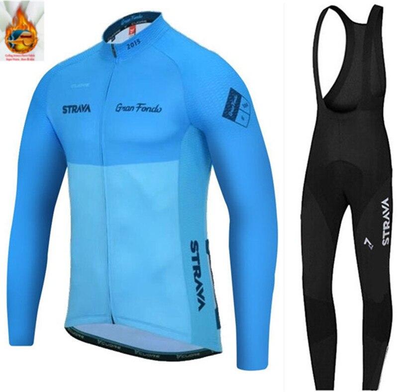 STRAVA-equipo profesional de Invierno para Ciclismo, Conjunto de Jersey térmico de lana...