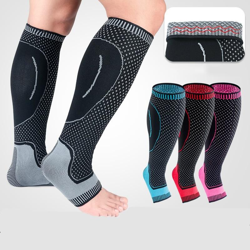 1 par de calcetines de manga de compresión de pantorrilla de tobillo Protector de medias para fútbol baloncesto
