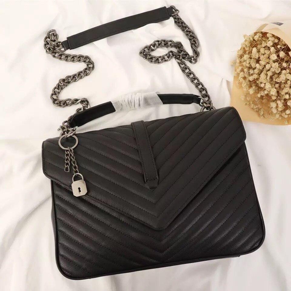 Bolso de mano de piel auténtica para mujer, de 32CM, de lujo, de diseñador, GUROVI, bandolera negra para mujer, bolso de hombro con cadena, bandolera para mujer