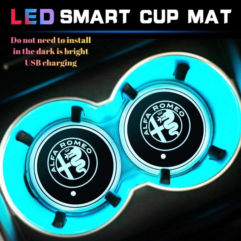 2 uds. Alfombrilla LED inteligente para coche, luz de soporte de agua con USB para Alfa Romeo 155 156 159 Giulia Mito Stelvio 4C GT accesorios de araña