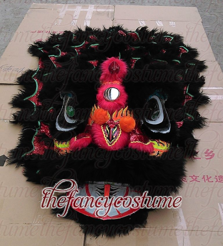 Black Lion Dance Costume  2 Player 8-12 Age Children Play Party Performance Sport Outdoor Parade Folk Parad Stage Mascot China