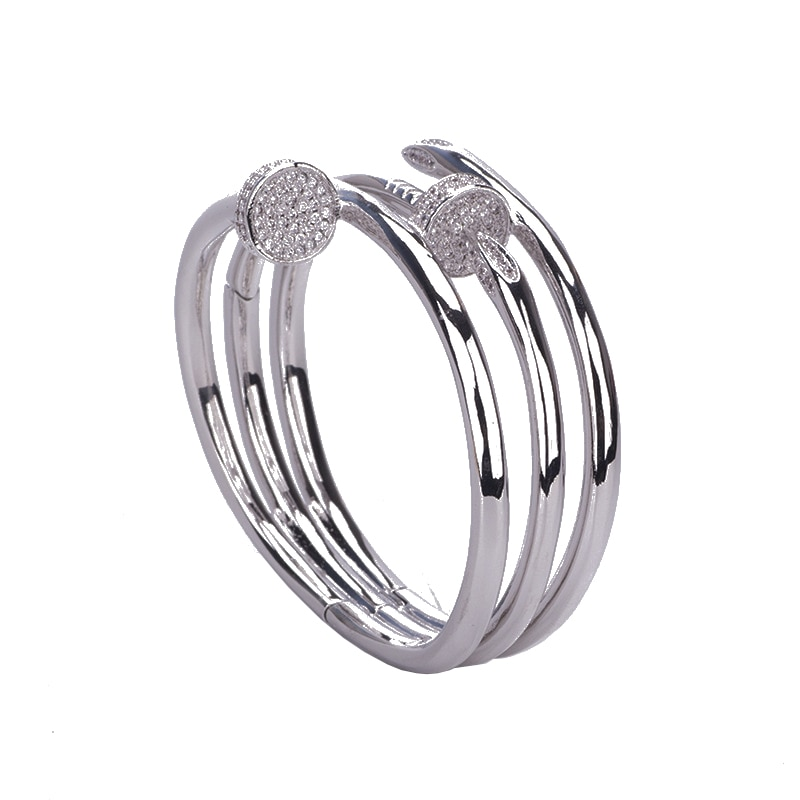 Luxury Fashion Bracelet double ring nail with ring copper Zircon Bracelet Wedding Party Dubai jewelry B0880