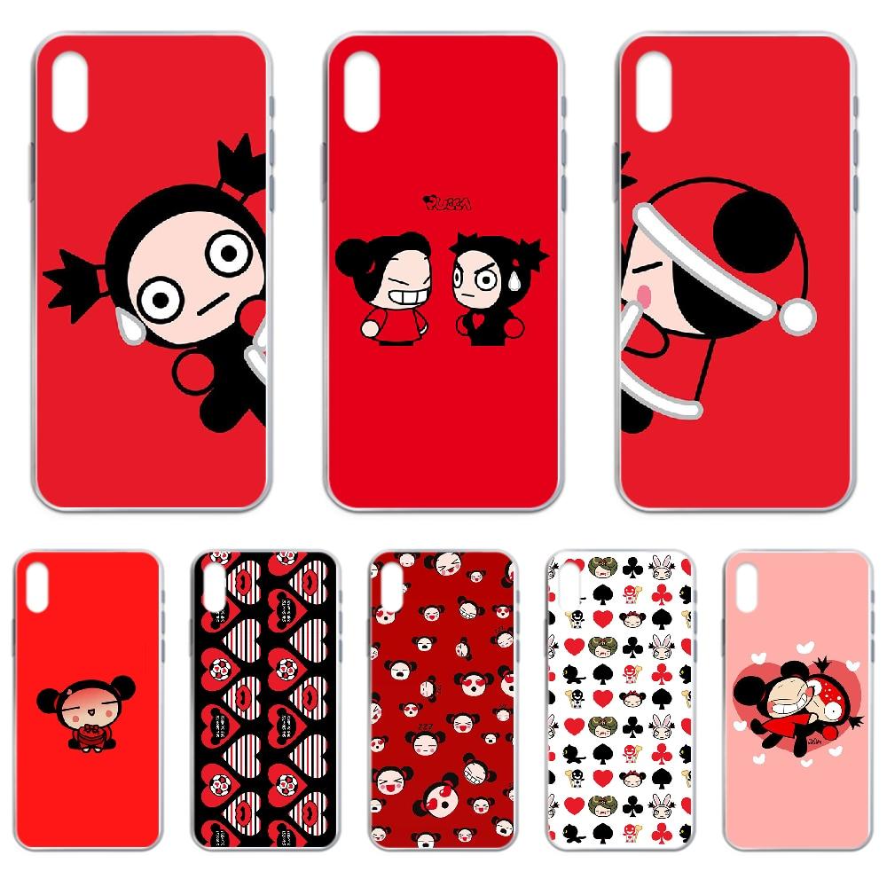 Muñeca de China pucca rojo cubierta de la caja del teléfono para iphone 4 4S 5 5C 5S 6 6S PLUS 7 8 X XR XS 11 PRO SE 2020 MAX transparente primer