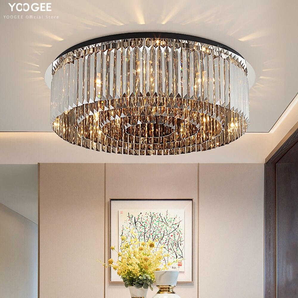YOOGEE ثريا تركب بالسقف الحديثة الأسود كريستال أضواء السقف LED الثريا لغرفة النوم
