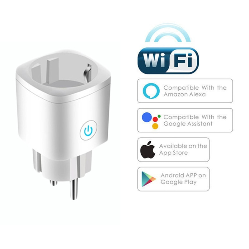 16A WiFi Smart Plug Outlet Tuya Remote Control Home Appliances Works With Alexa Google No Hub Required Умная Розетка