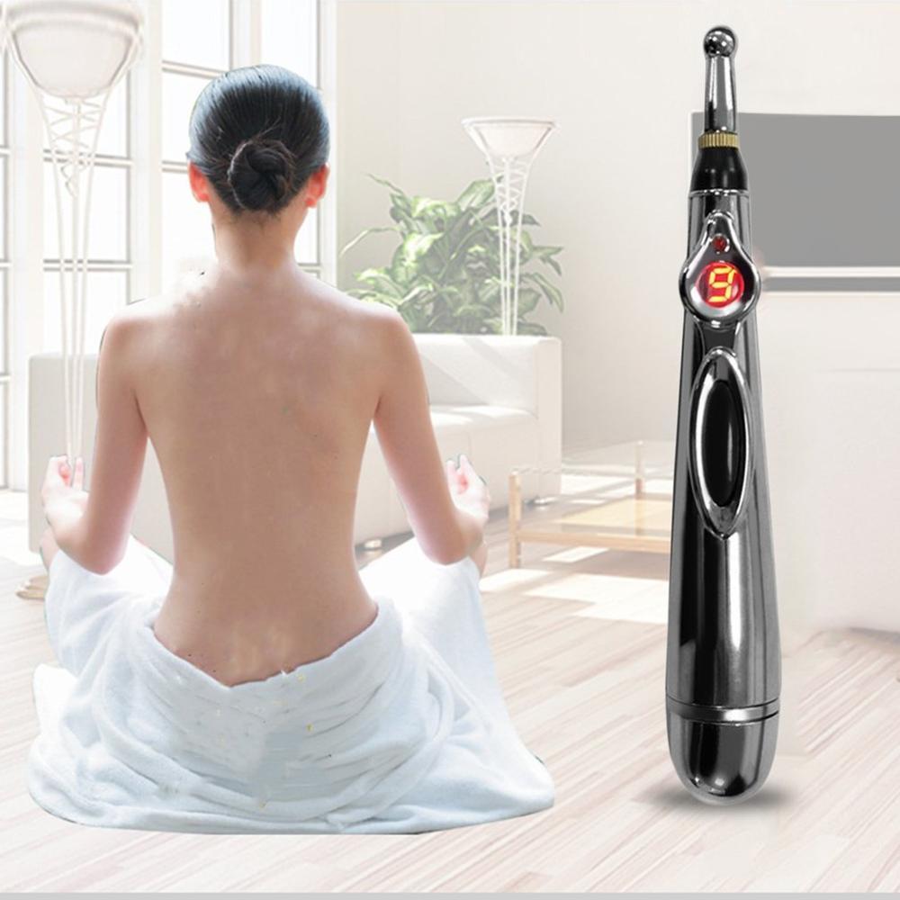 20x eléctrica punto de acupuntura masaje pluma alivio del dolor terapia electrónicos bolígrafo para meridianos de energía cuerpo masajeador para el cuello de la pierna