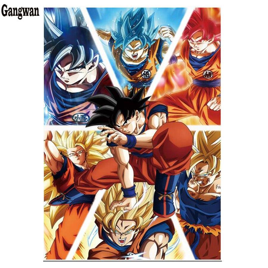 Pintura de cristal 5d pintura de diamante Dragon Ball Z Goku cuadrado completo/redondo taladro artesanía diamante bordado mosaico pintura