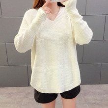 Women's Winter Clothes Korean Lazy Style Loose All-match Blouse V-neck Inner Sweater Bottoming Shirt