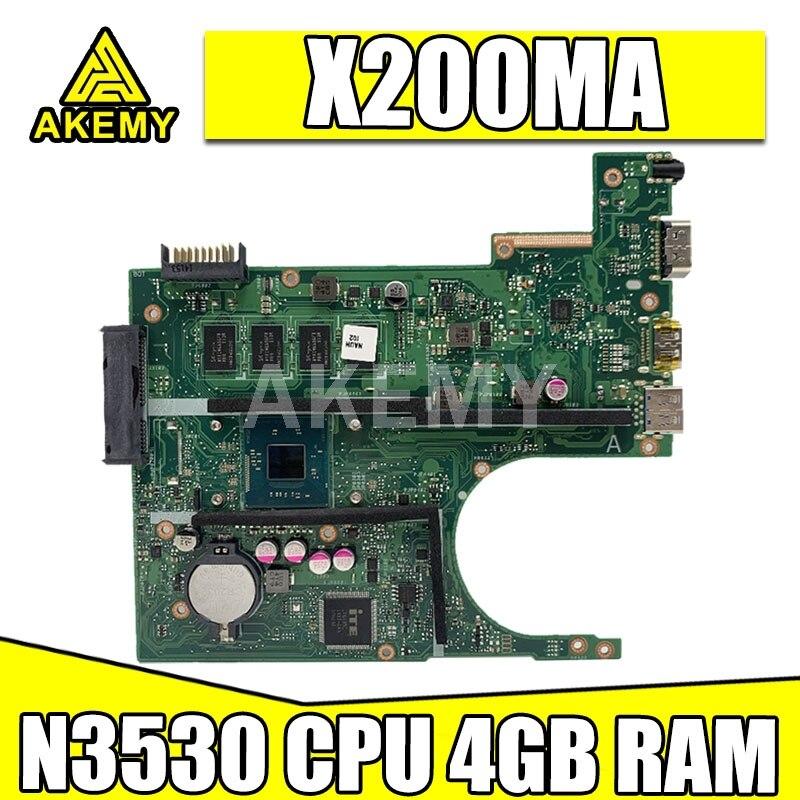 90NB04U1-R 00201 X200MA اللوحة الأم للكمبيوتر المحمول ASUS F200M X200MA اللوحة الرئيسية N3530 وحدة المعالجة المركزية 4 جيجابايت رام