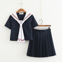 Classic Navy Sailor Suit With Neckline Japan/Korean Female Students Uniforms JK Student Clothing Sets Girls Anime COS Sailor