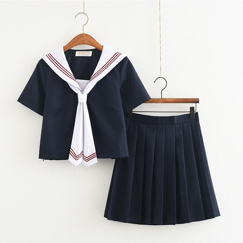 Traje clásico marinero de la Marina con escote Japón/Korean estudiantes femeninas uniformes JK estudiantes conjuntos de ropa chicas Anime COS Sailor