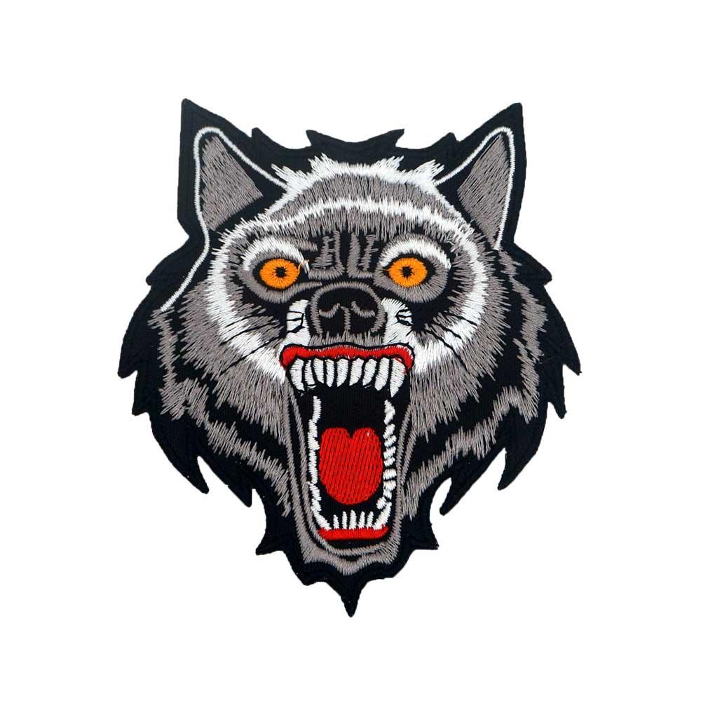 Parche pequeño de lobo motero etiqueta bordada para coser parches punk motero adhesivos para ropa