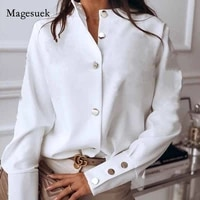 solid womens fashion long blusas collar white stand blouses tops autumn women sleeve shirts loose cardigan black 10619 autumn