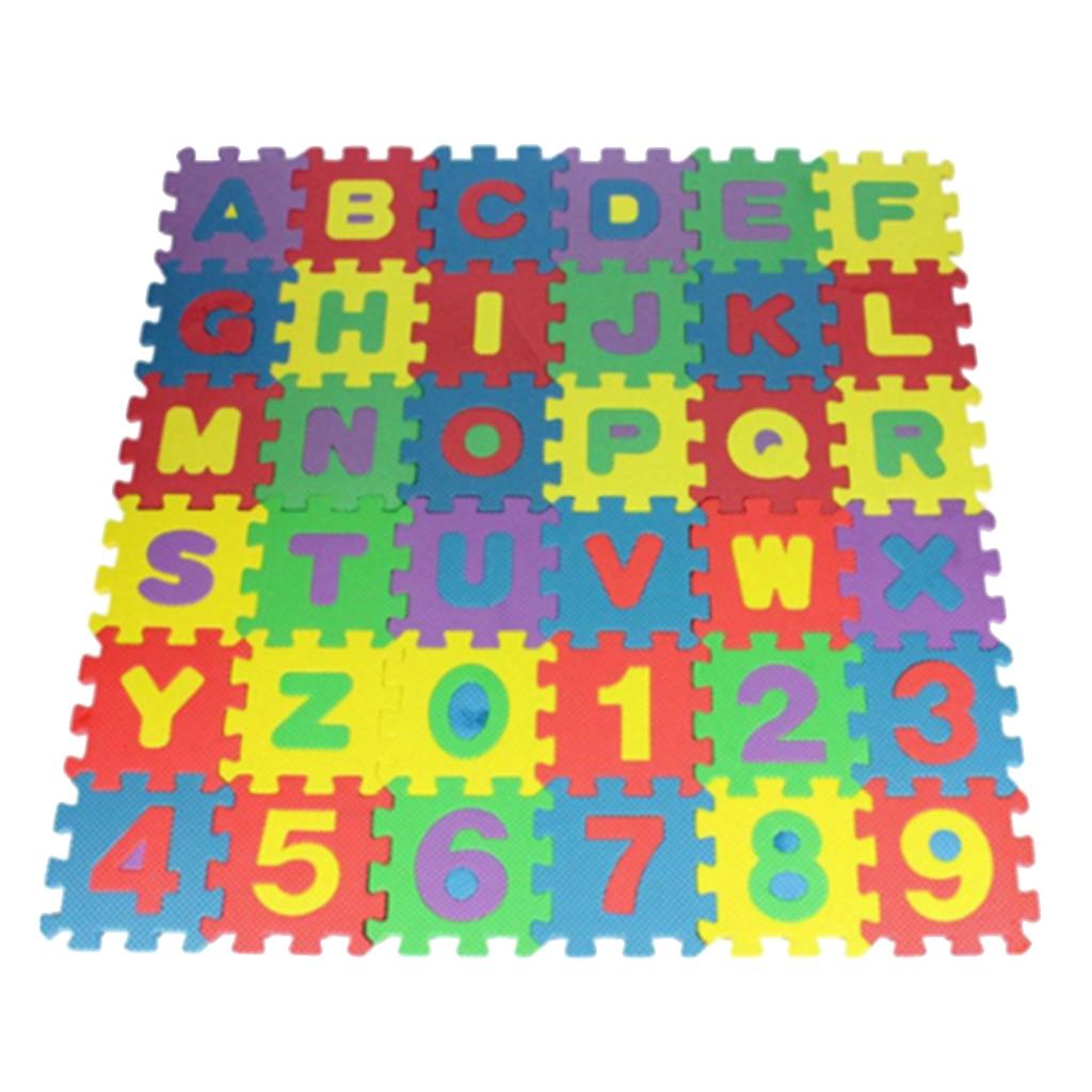 36 Uds., alfabeto y números EVA, puzle de espuma cuadrada, colchoneta de juego para gatear para bebé