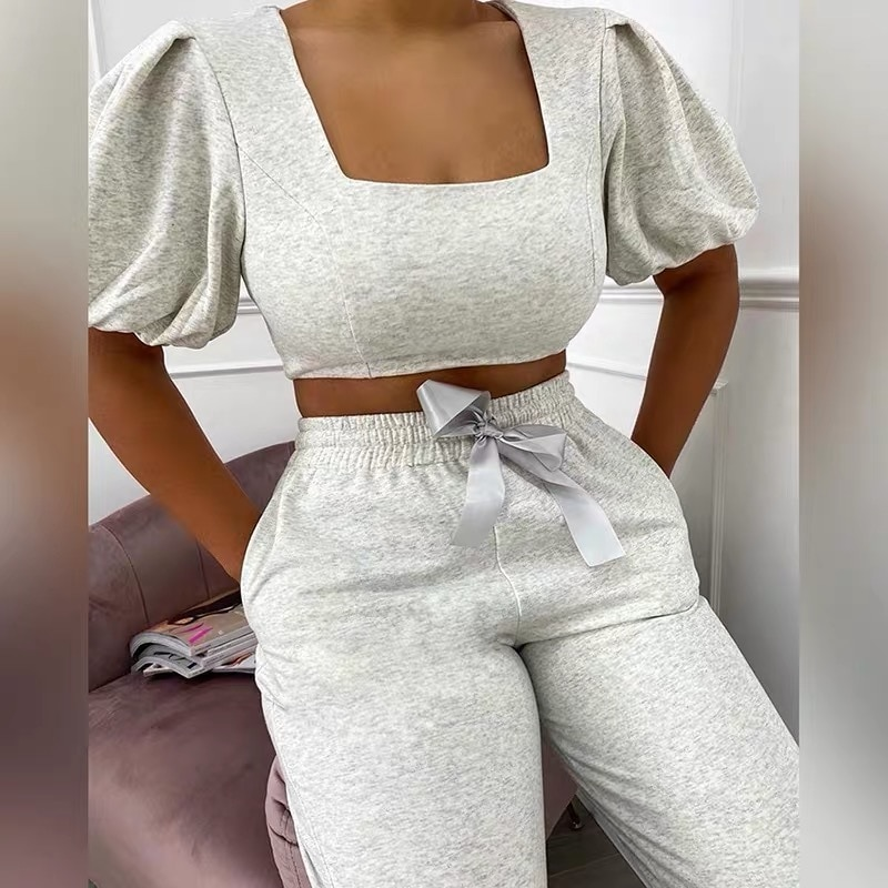 YICIYA Women Tracksuit 2 Piece Set 2021 Summer New Arrival Casual Square Collar Puff Sleeve Solid Pink Short Top Lace Up Pants