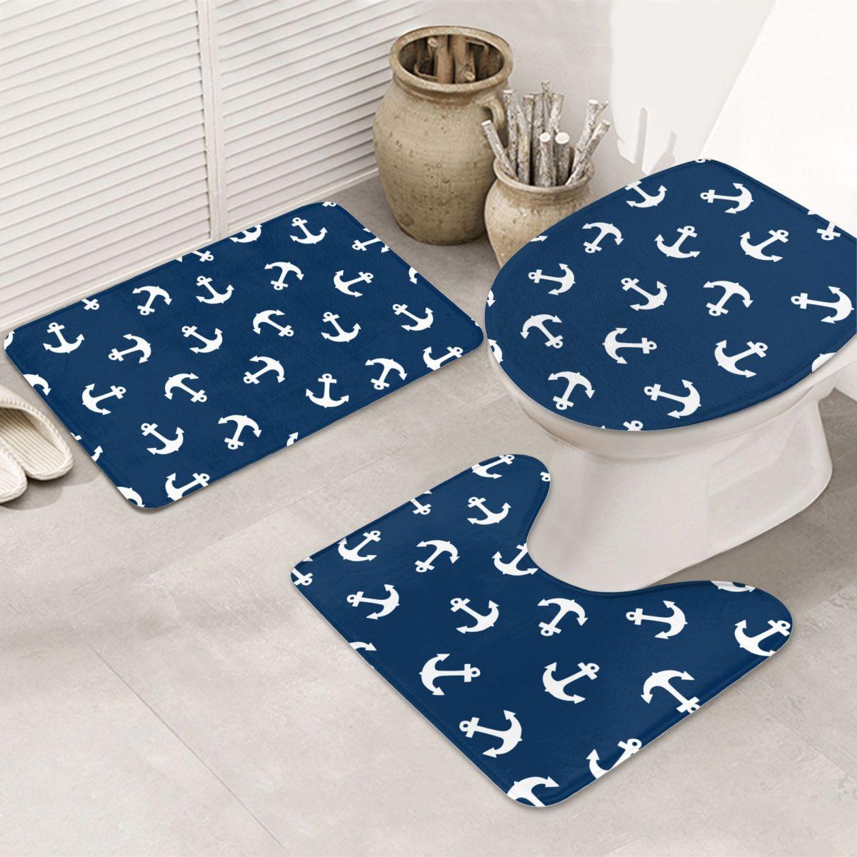 مرساة البحرية 3 قطعة الحمام حصيرة مجموعة الطابق سجاد النقش الفانيلا وسادة المرحاض مقعد غطاء حمام للديكور المنزل