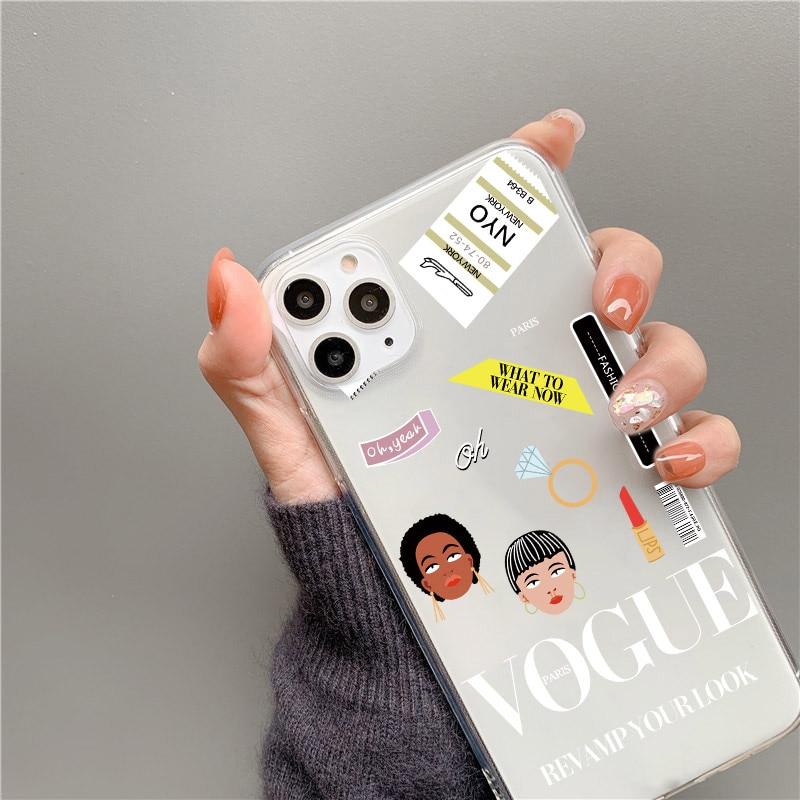 Funda de teléfono con etiqueta de revista de moda para iphone 11 Pro Max X XR XS Max 7 8 plus, cubierta trasera, bonitos estuches blandos transparentes, Capa