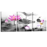 posters black and white flower print fresh wall art pink lotus pictures canvas living room decoration wall paintings