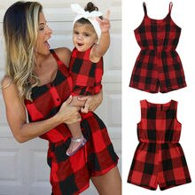 Mother Daughter Family Matching Outfits Clothes Plaid Parent-child Dress Baby Girls Mom Romper Fashi