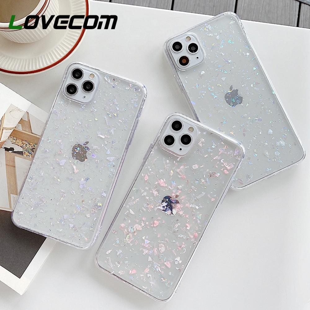 Чехол для телефона LOVECOM Dream Shell для iPhone 12 Mini 11 Pro Max XR XS Max 6S 7 8 Plus, Прозрачная мягкая эпоксидная задняя крышка
