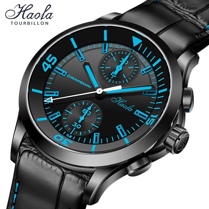 Haofa Pilot Watch Men Automatic Chronograph Sapphire Mechanical 40mm Watches Mens Self Winding Fashi