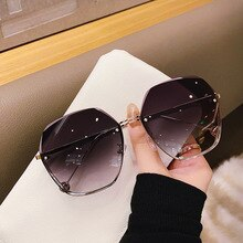 Rimless Tea Gradient Sunglasses Women Ocean Water Cut Trimmed Lens Metal Curved Temples 2021 Fashion