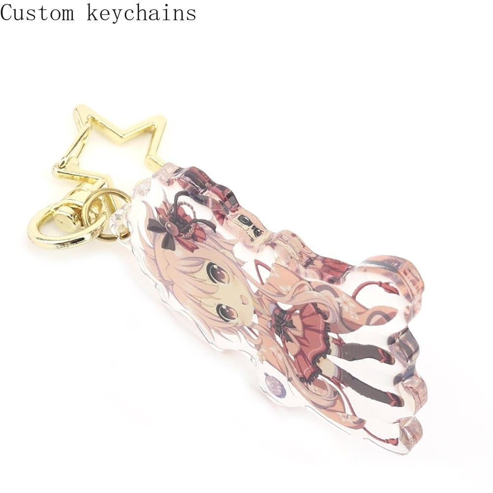 10pcs Custom Laser Cut High Quality Romantic Promotional Shaped Souvenir Transparent Acrylic Charm Keychain