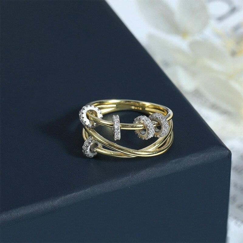 Роскошное золотистое мульти кольцо круги для женщин панк простое циркониевое кольцо ювелирные изделия Прямая поставка кольца для Zk30