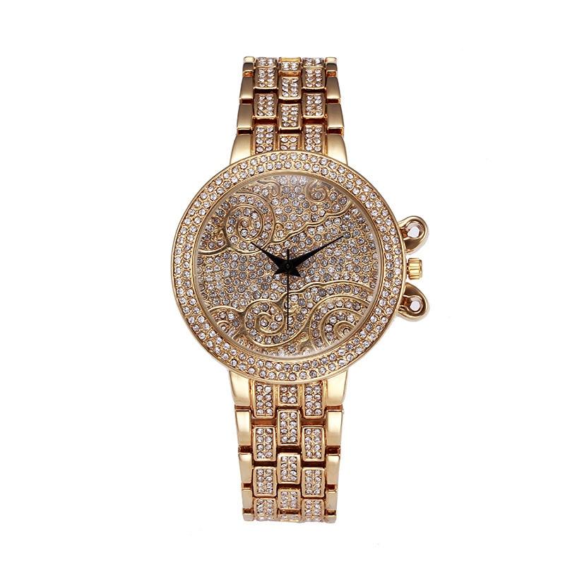 Hip Hop CZ piedra pavimentada 18K oro Acero inoxidable correa de reloj nube cuarzo reloj de pulsera Bling Ice Out hombres lujo relojes impermeables