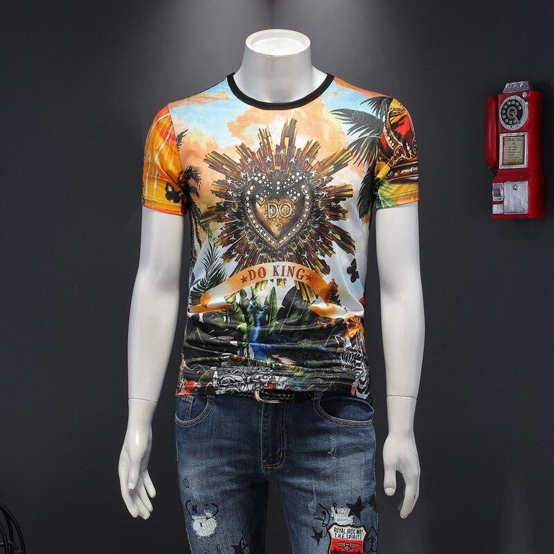 Ele novo verão 2020 dias confortáveis impressão de seda manga curta camiseta masculino 6649 p50
