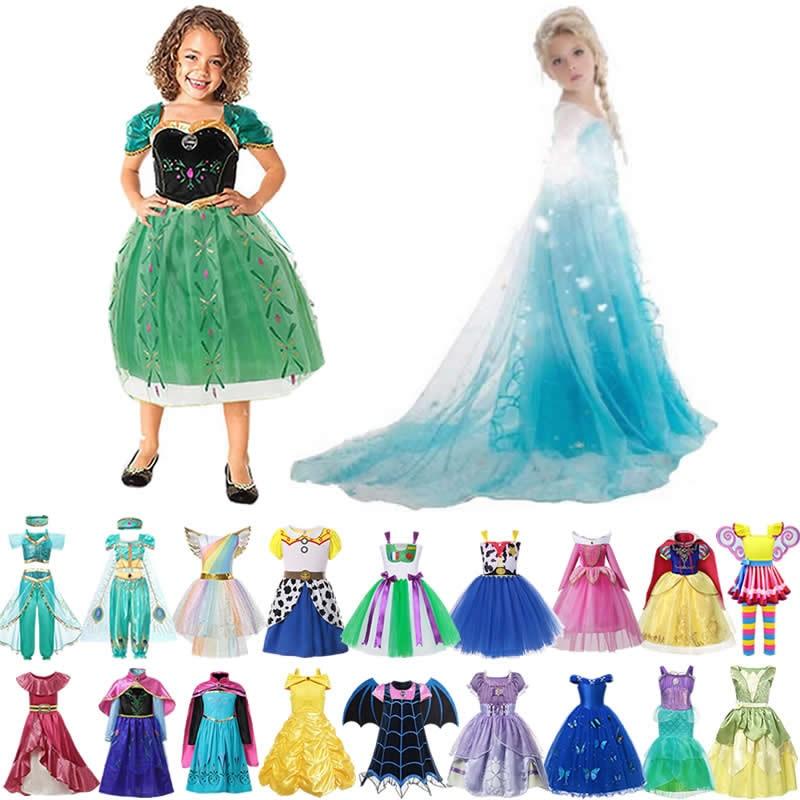 Платье принцессы Эльзы и Анны для девочек; История игрушек; Вуди; Костюмы для детей; Vampirina; Золушка; Одежда для маленьких девочек; Тиана; Белль...
