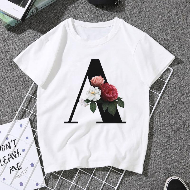 Женская блузка с принтом алфавита, белая Повседневная Блузка для влюбленных пар в стиле Харадзюку, лето 2020
