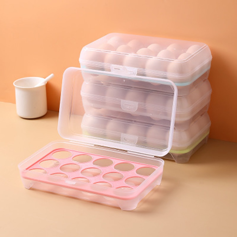 AliExpress - 15 Grid Refrigerator Egg Box Fresh-keeping Containers Plastic Portable Food Storage Box Transparent Egg Tray Kitchen Accessories