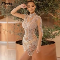 short party dresses with full beaded customized 2021 evening gowns crystal cocktail dresses arabic kaftans celebrity dress robes