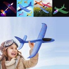 48cm EPP mousse avion lancement à la main lancer planeur lumière LED avion modèle avion éducation en plein air jouets cadeau pour les enfants adultes