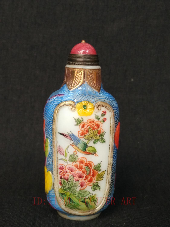 YIZHU CULTUER colección de arte China glaseado tallado a mano pintura flores pájaros botella de rape antigua