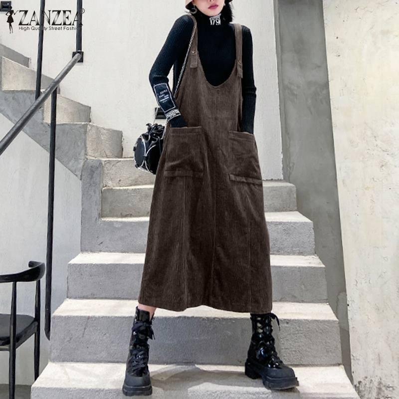 2020 mais tamanho zanzea primavera suspensórios veludo sundress feminino casual sólido sem mangas trabalho macacão vestido robe femme vestidos
