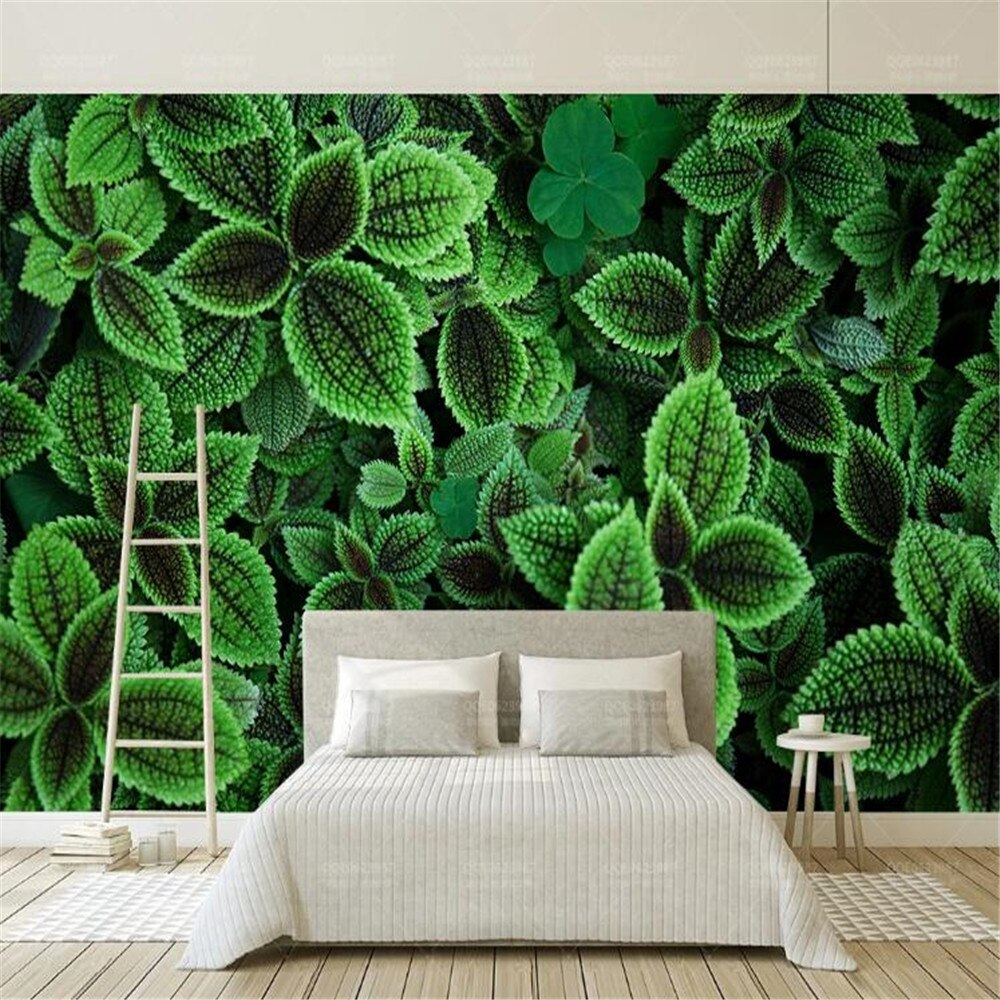 Milofi large wallpaper mural modern minimalist small fresh green leaves plants watercolor TV background wall