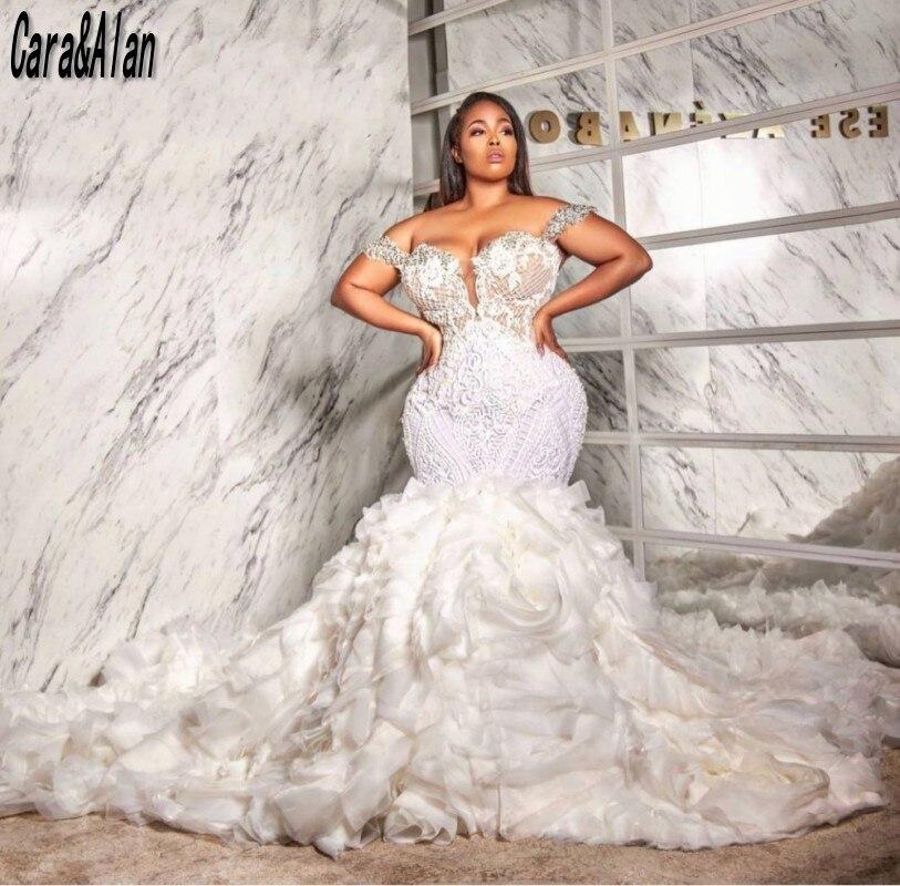 Luxury Mermaid Wedding Dresses 2021 Off the Shoulder Arabic Bridal Gowns Custom Made robe de mariee