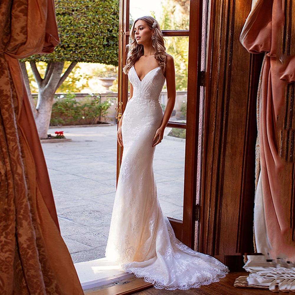 Promo Sexy Lace Mermaid Weddding Dresses V-Neck Sleeveless Backless Appliques Pleat Bridal Gowns 2021 Vestido De Noiva