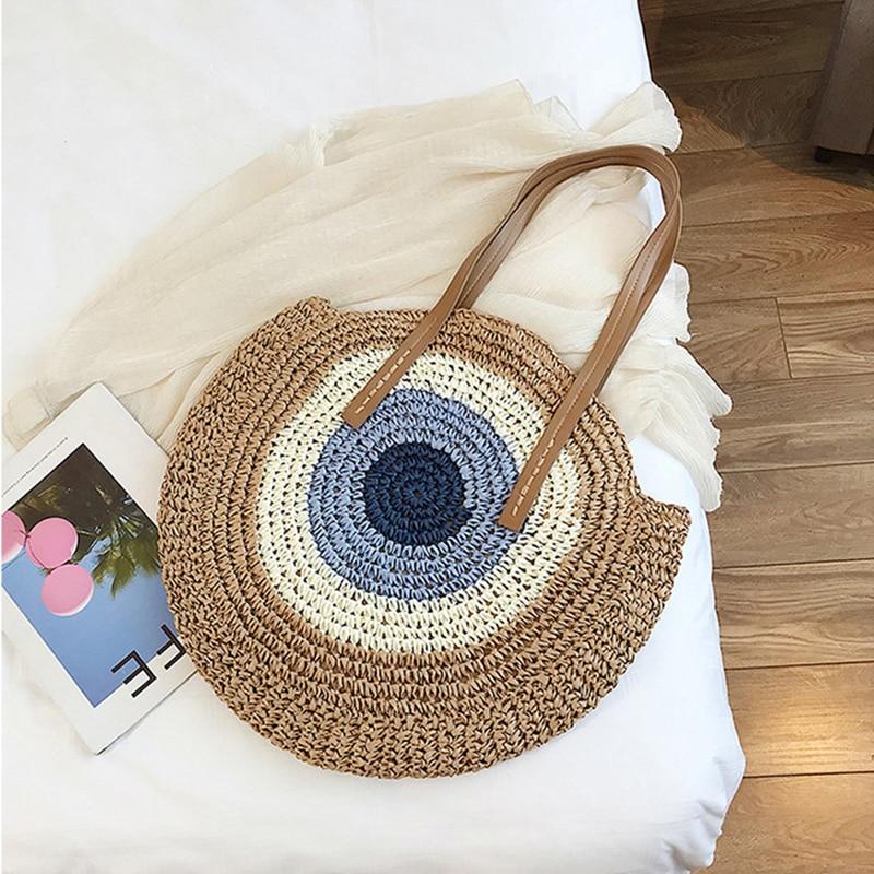 2020 Summer Round Straw Bags for Women Rattan Shoulder Handmade Woven Beach Female Message Handbag Totes