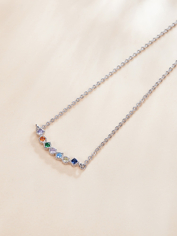 Bamoer-عقد من الفضة الإسترليني عيار 925 مرصع بالزركونيا ، عقد بألوان قوس قزح ، لامع وجذاب ، للنساء