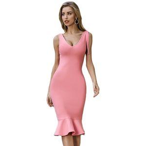 New Summer Pink Women Bodycon Bandage Dress Vestidos Elegant Tank Sexy Sleeveless Club Celebrity Runway Party Dress