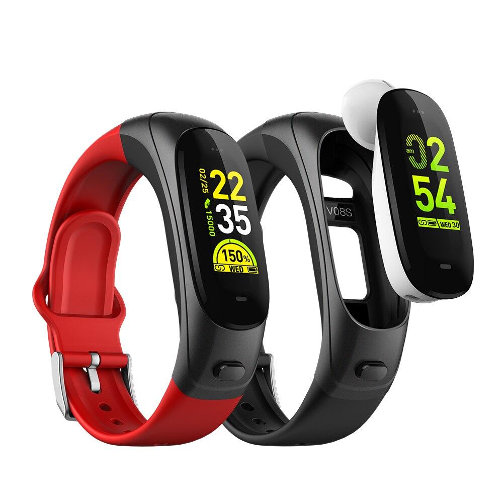 V08P Bluetooth Headset Smart Armband 2 in 1 Farbe Bildschirm Armband 0,96 Zoll Herz Rate Blutdruck Sport Kopfhörer mit mic