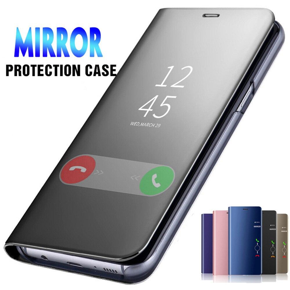 Capa inteligente flip de couro, capa espelhada de couro para celular xiaomi redmi note 8 pro t 8t para redmi k30 note 9 pro 9s